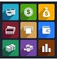 Money flat icon set 14 vector image