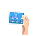 shopping online concept tablet in hands vector image