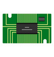 green microchip icon isolated vector image