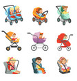 baby carriage set different types of children vector image