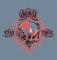 Grunge Skull Print 5 vector image