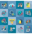 Big Data Analytics Flat Icons vector image