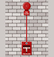 fire alarm system at brick wall fire equipment vector image