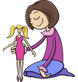 girl with toy doll cartoon vector image