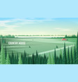 gorgeous rural landscape with green coniferous vector image