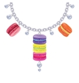 Necklace with macaroon pearls on a silver chain vector image