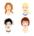 set of women heads with different types of vector image