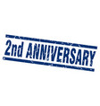 square grunge blue 2nd anniversary stamp vector image