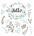 Stylish set of plants and wreath with a vector image