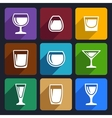 Drink glasses icons set 16 vector image vector image