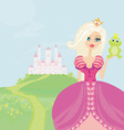Beautiful young princess holding a big frog vector image vector image