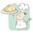 chef and chicken vector image vector image
