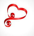 heart from red silk ribbon vector image vector image