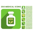 Natural Drugs Icon and Medical Longshadow Icon Set vector image