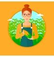 Farmer holding corn vector image
