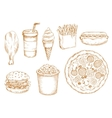 Retro stylized sketch of fast food lunch vector image