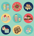 Bakery doodle colorful in circle vector image