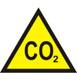 co2 yellow triangular warning sign carbon vector image