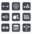 Dumbbells icons Fitness sport symbols vector image