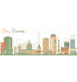 Abstract Des Moines Skyline with Color Buildings vector image