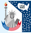 beauty statue of liberty with amercan ribbon vector image