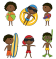 Cute happy African-American boys on the beach vector image vector image