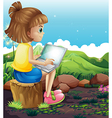A young girl sitting above the stump while using vector image