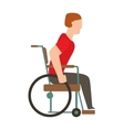 Man in wheelchair invalid disabled help chair vector image