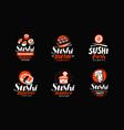 sushi rolls japanese food set of logos or labels vector image