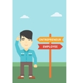 Confused man choosing career pathway vector image
