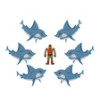 Angry sharks surrounded man in old diving suit vector image