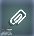 clip to paper icon symbol on the blue-green vector image
