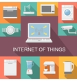Internet of things computer remote control flat vector image