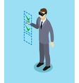 Isometric Businessman With Virtual Reality Headset vector image