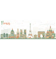 paris skyline with color landmarks vector image