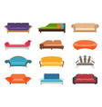 sofa colored set comfortable couch vector image