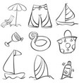 doodle object summer hand draw vector image