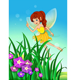 A beautiful fairy in the garden vector image