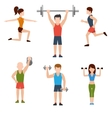 Exercises with weights and warm-up icons vector image