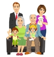 cheerful family at home sitting on sofa vector image vector image