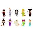 Big set of kids in halloween costumes vector image