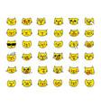 emoji sticker set cat head yellow color different vector image