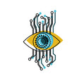 eye cyber security in watercolor silhouette vector image