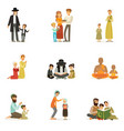 flat people characters of different vector image