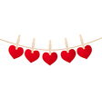 hearts clothespins vector image