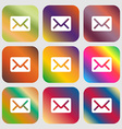 Mail envelope letter icon Nine buttons with bright vector image