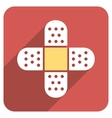 Plaster Cross Flat Rounded Square Icon with Long vector image