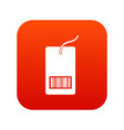 tag with bar code icon digital red vector image