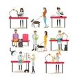 set of vet clinic staff clients pets vector image