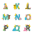 alphabet baby from J to R vector image